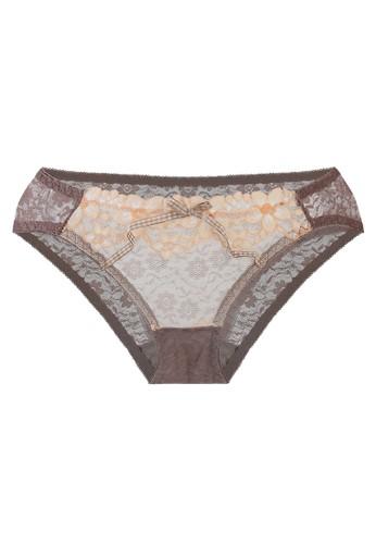 LAVABRA Intimates grey Very Sexy Panty - Georgine Comfy Lace and Mesh Bikini Panty LA387US88SKPID_1