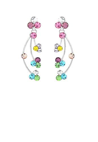 Glamorousky silver Elegant Rainbow Earrings with Multi-color Austrian Element Crystals 87DE3ACADB73E1GS_1