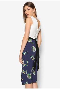 Floral Print Contrast Midi Dress