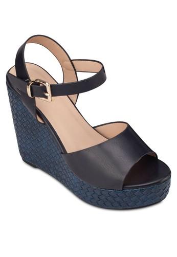 編織楔型跟繞踝涼zalora 心得鞋, 女鞋, 楔形涼鞋