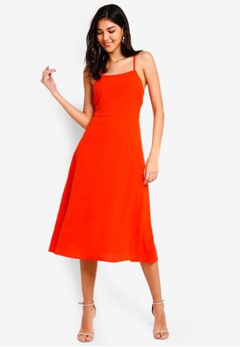 ZALORA orange Cami Midi Dress C8D77AAFF93715GS_1