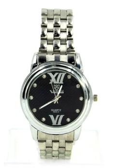 Valia Jess Unisex Black Stainless Steel Strap Watch 8222-2