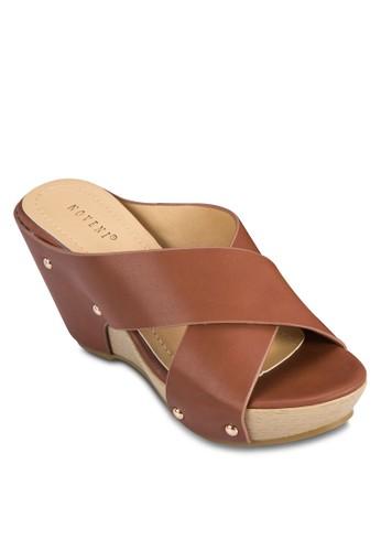 交叉寬帶楔形鞋, zalora 順豐女鞋, 楔形涼鞋