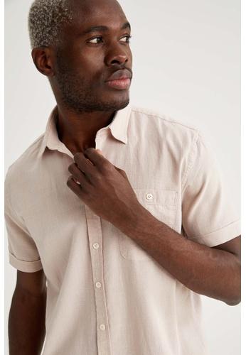 DeFacto pink Man Woven Short Sleeve Shirt F6FA5AAE6D25F1GS_1