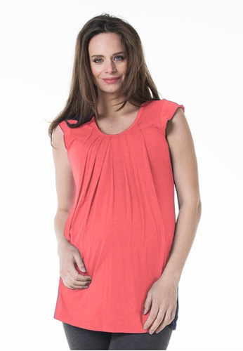 Bove by Spring Maternity orange Knitted Sleeveless Briar Drape Top Coral 12E3EAAC000332GS_1
