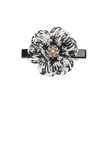 Glamorousky black Fashion and Elegant Black Hollow Flower Hair Slide with Champagne Cubic Zirconia C5440AC8A752E7GS_1