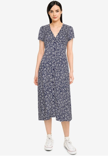 Cotton On navy Woven Petite Katherine Midi Dress 0BB72AAF1A8DCAGS_1