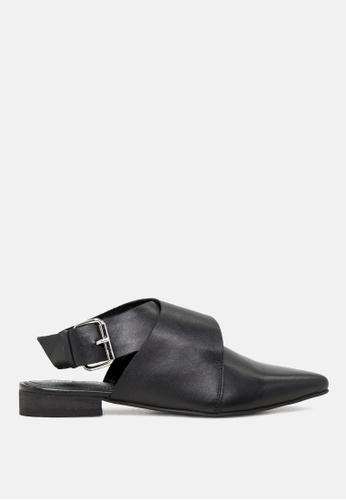 Rag & CO. 黑色 漏脚跟鞋领口扣封设计的真皮凉鞋 33102SHE48FEBAGS_1