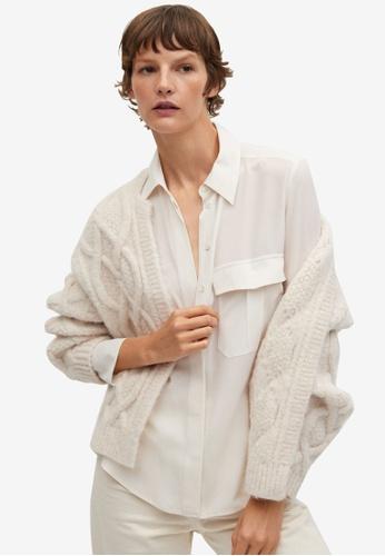 Mango white Pocket Silk Shirt BAD08AA964F58CGS_1