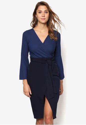 撞色裹飾長袖洋裝, zalora時尚購物網的koumi koumi服飾, 貼身誘惑
