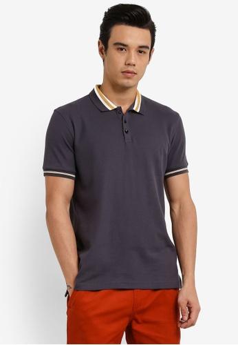 UniqTee grey Slim Fit Bomber Stripe Polo Shirt UN097AA0RFV2MY_1