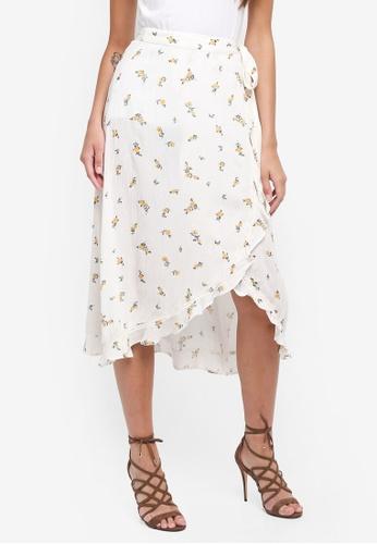 7e899d55a Buy Miss Selfridge Cream Ditsy Wrap Midi Skirt Online | ZALORA Malaysia