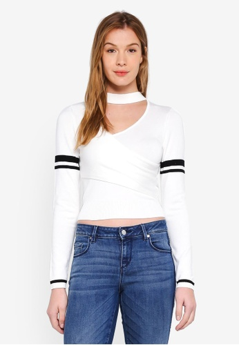 Guess white Mai Varsity Stripe Cropped Sweater D4331AA4E2BB96GS_1