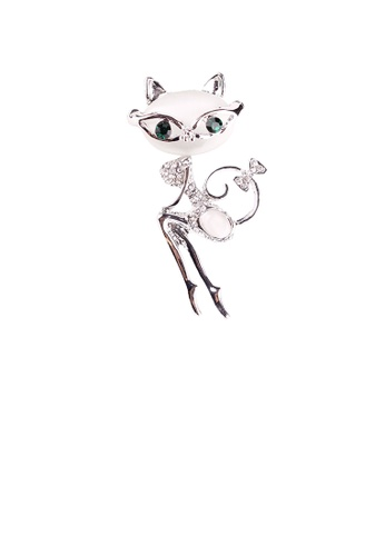 Glamorousky white Simple and Cute Cat Opal Brooch with Cubic Zirconia AC850ACFEAAE95GS_1
