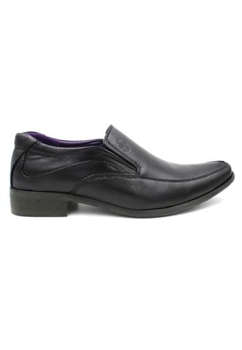 midzone black Texture Faux Leather Formal Shoes MI949SH0SJ8VMY_1