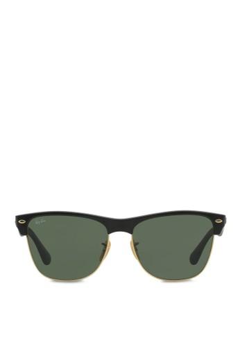 clubmaster ray ban oversized 0mu7  Ray-Ban black Clubmaster Oversized Sunglasses RA370GL44SDZSG_1
