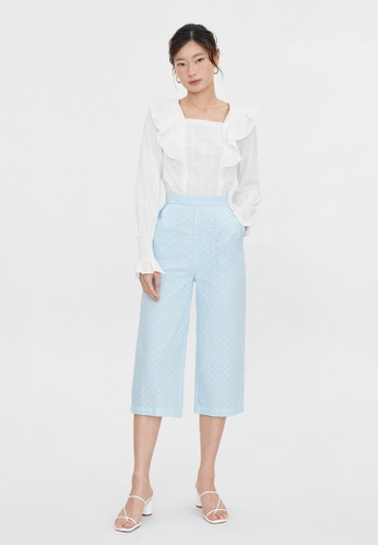 Pomelo blue Side Pockets Eyelet Pants - Blue 79FF9AAA76C3CCGS_1