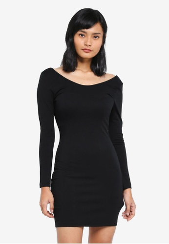 Something Borrowed black Scoop Back Knit Bodycon Dress BED12AA5B5A6A8GS_1