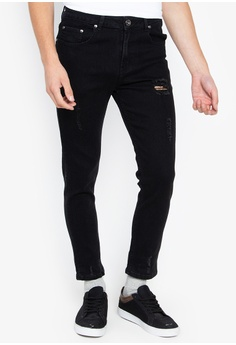 e802530ba95d0b Folded   Hung black Distressed Denim Skinny Jeans E4D82AA5D31B12GS 1