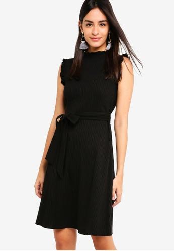 ZALORA black Ruffles Trimmed Rib Dress D811BAAD321E47GS_1