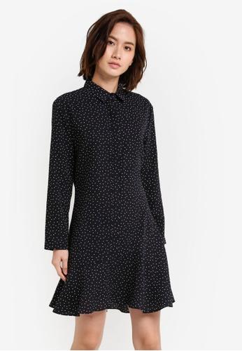 ZALORA black Long Sleeves Frill Hem Dress BD68FAA49A5BF4GS_1