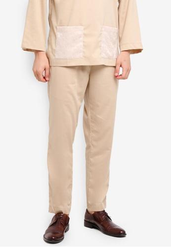 Zalia Homme 褐色 Drawstring Pants BDE83AA7697F67GS_1