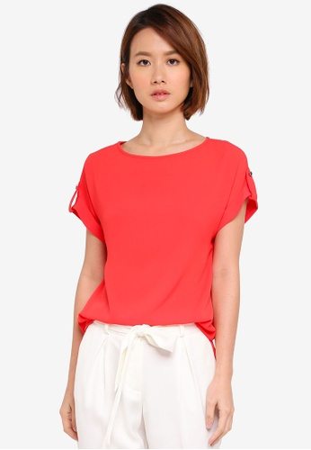 Dorothy Perkins pink Coral Button Sleeve Tee 051A4AA3209350GS_1