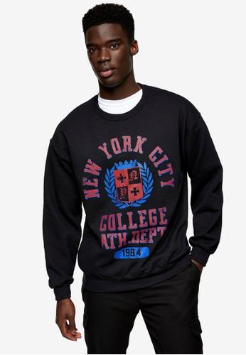 Topman black Nyc College Sweatshirt In Black 813D3AAEEC8070GS_1