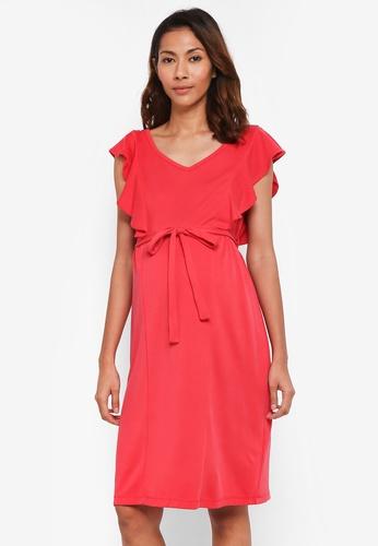 JoJo Maman Bébé red Maternity Frill Sleeve Dress 5A15CAADE2479BGS_1