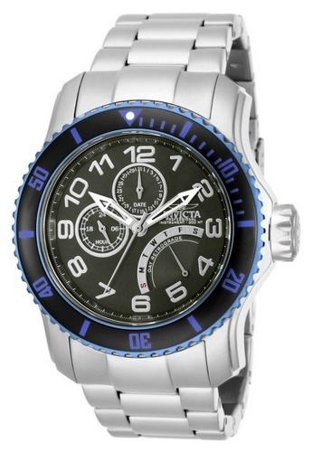 INVICTA blue Invicta Pro Diver Men 48.8mm Case Silver Stainless Steel Strap Gunmetal Dial Quartz Watch 15339 IN968AC0F5BNSG_1