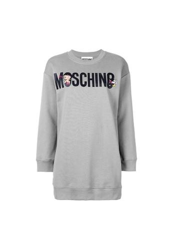 Moschino grey Moschino Betty Boop Logo Sweatshirt Dress in Grey 763E0AAC977013GS_1