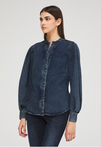 Sisley blue Mandarin Collar Denim Shirt 6E828AABFE5346GS_1