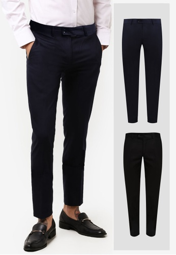 ZALORA black and navy 2 Pack Slim Fit Formal Trousers ZA919AA0F56CSG_1