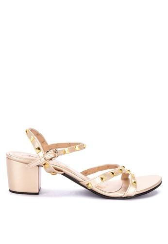 Mishka gold Elisse Studded Heels Sandals 62240SHC02E985GS_1