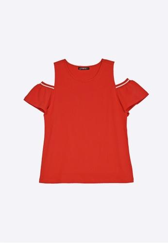 Cheetah red Cheetah Athleisure Ladies Cut Out Sleeve Top - CAL-94958 -C1 E8237AA8890280GS_1