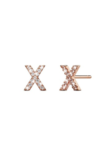 925 Signature silver 925 SIGNATURE Solid 925 Sterling Silver Glamour Alphabet Letter Earrings Rose Gold - X AD303ACE5CF7D0GS_1