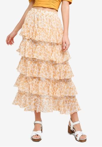 Mink Pink white and gold Lana Teired Midi Skirt E6FA2AAE71E93AGS_1