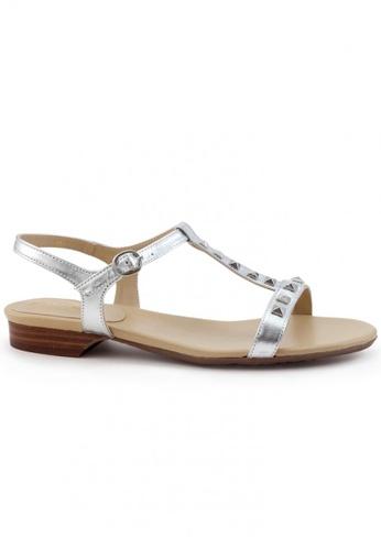 Shu Talk 銀色 高貴羊軟皮窩釘低跟涼鞋 SH544SH099SSTW_1