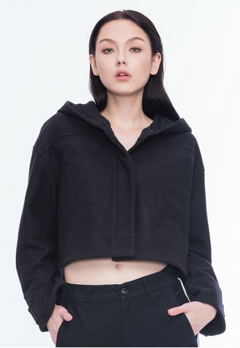 Alpha Style black Bambi Hooded Cropped Wool Jacket AL461AA0GMCQSG_1