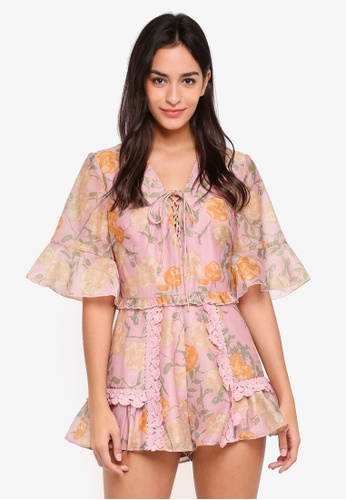 Finders Keepers pink Meadows Playsuit 77947AA995E074GS_1