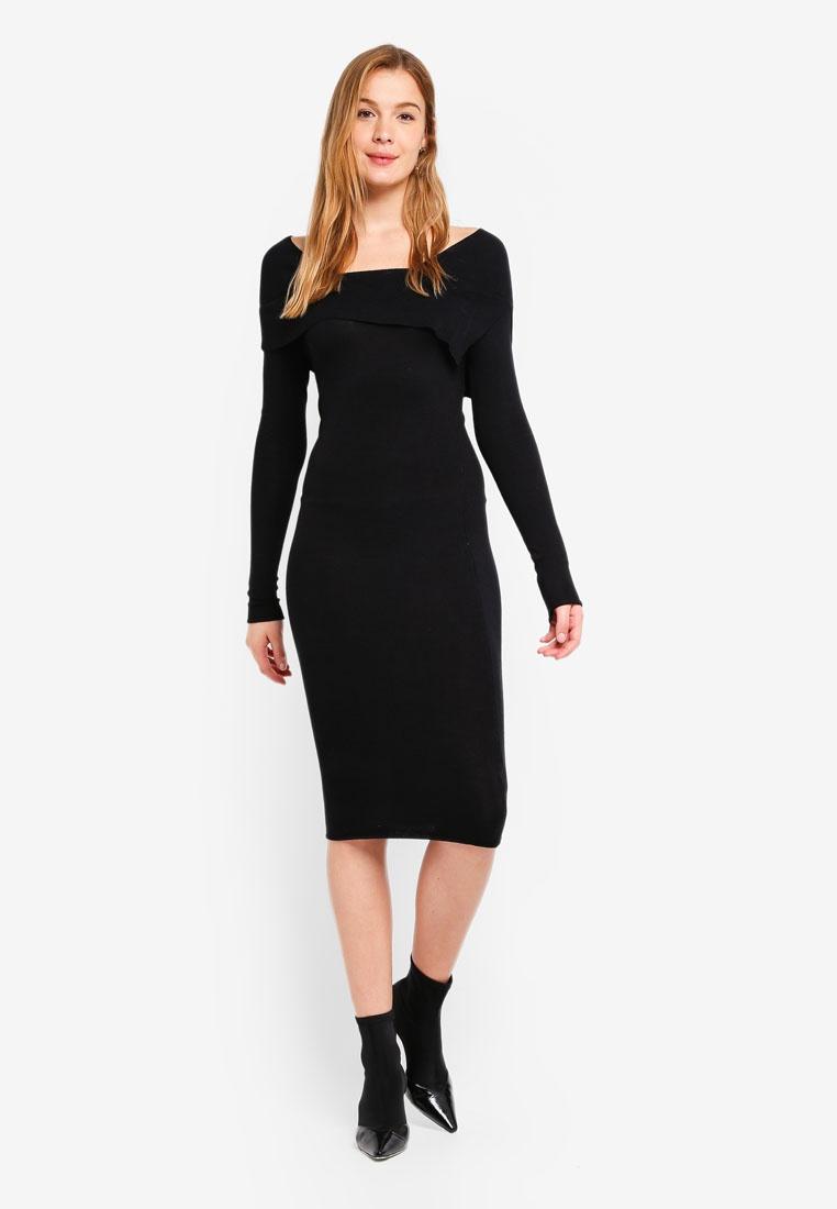 Black INK Dress Bodycon LOST Over Fold 6q70YxX0
