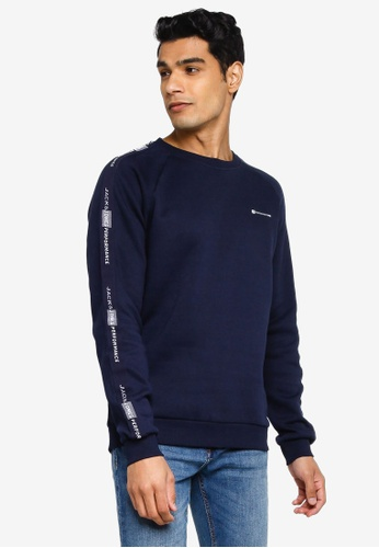 Jack & Jones navy Finn Crew Neck Sweatshirt ED89BAAF162BD4GS_1