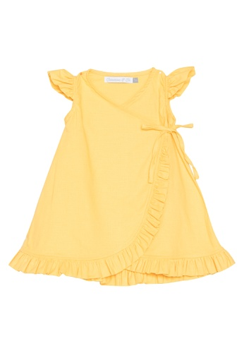 Style Me Little yellow The Linen Wrap Dress 59B8EKA3CCDCC0GS_1