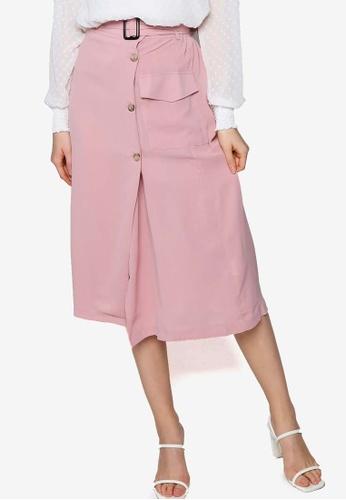 ZALORA pink Overlap Pocket Detail Skirt 20EA8AAB0A796AGS_1