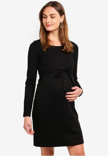 Mama.licious black Maternity Kaja Long Sleeve Jersey Short Dress 5DD8BAADD489C6GS_1