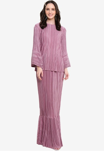Pleated Crop Kurung from Lubna in Purple