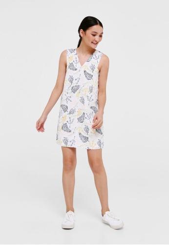 Love, Bonito white Hana V-neck Shift Dress in Jungle Mania 6AD35AAB59873FGS_1