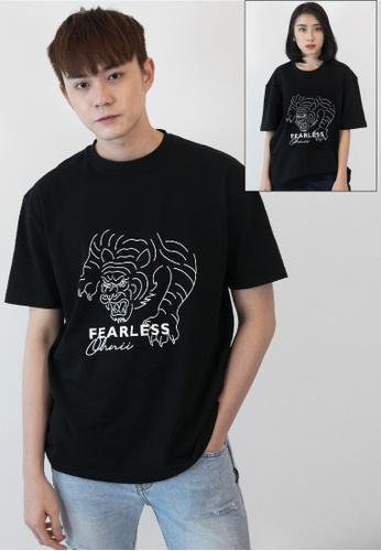 OHNII 黑色 無畏老虎徽標印花棉質寬鬆 T 恤衫 9E60FAA520834BGS_1