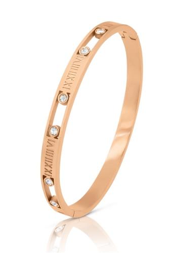 SO SEOUL gold Valeria Roman Numeral Encrusted Diamond Simulant Rose Gold Hinged Bangle BA7B6AC59E5350GS_1