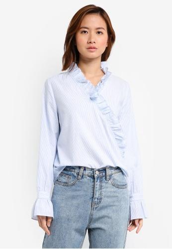 ZALORA blue Ruffle Neck Shirt 3D8AAAA0CCA5A3GS_1